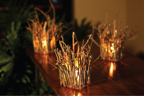 holiday decor wood lighting candles