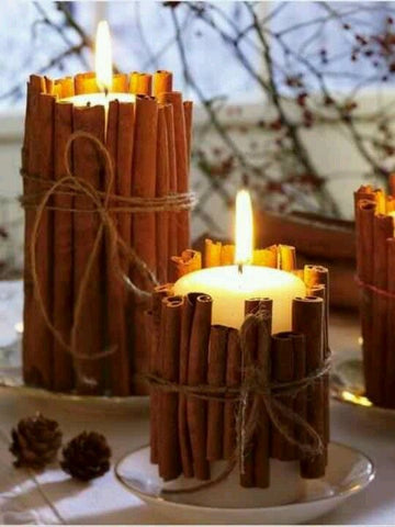 cinnamon stick candle fall decor