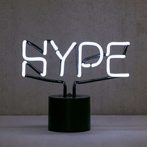 hype neon sign amped and co
