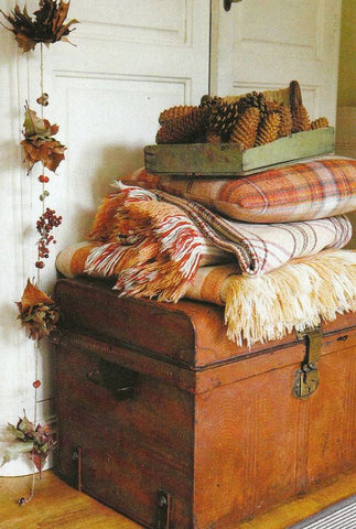 fall decor plaid blankets