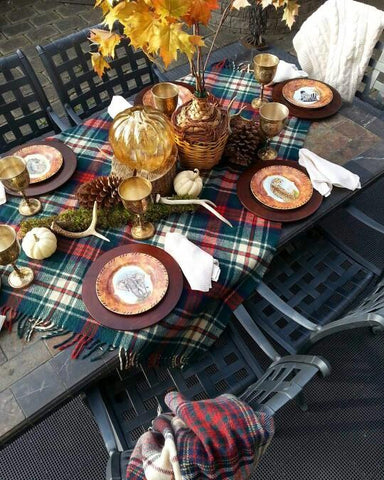 plaid table fall decor