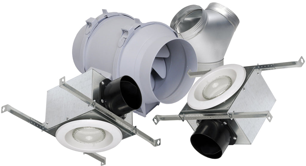 Deluxe Lighted Exhaust Fan Kit w/ 2 Halogen Grilles 6 inch Duct Diameter 293 CFM KIT-TD150H