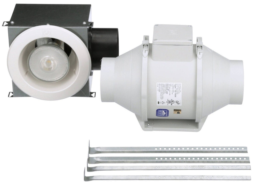 Standard Lighted Exhaust Fan Kit w/ LED Grille 4 inch Duct Diameter 135 CFM KIT-TD100XL