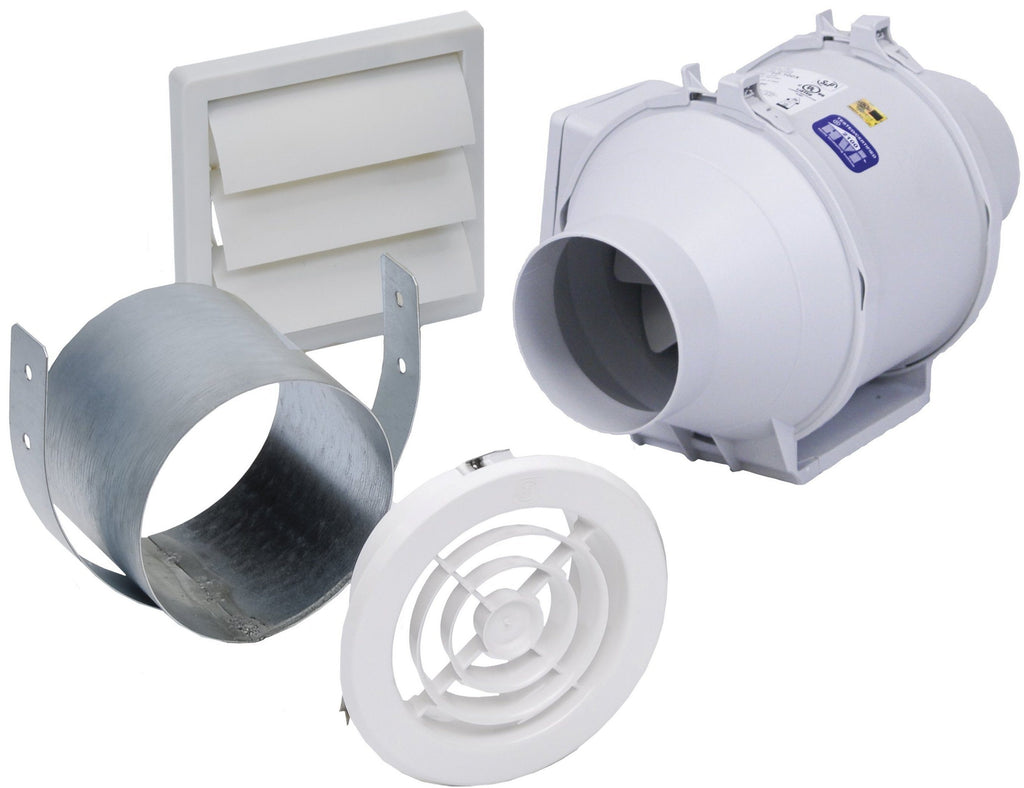 Mixvent Standard Exhaust Kit with 4 inch Exhaust Fan (135 CFM) KIT-TD100X1