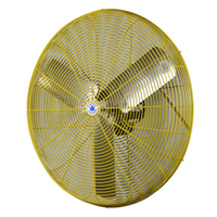 Schaefer Ventilation 30 inch Oscillating Industrial Safety Yellow Wall Mounted Air Circulator Fan 2 Speed TW30-SY-WMTA36-SY