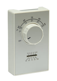 ET9 DPST Line Voltage Thermostat 50-90 Deg F 120-277 VAC (Heating Only) ET9DTS