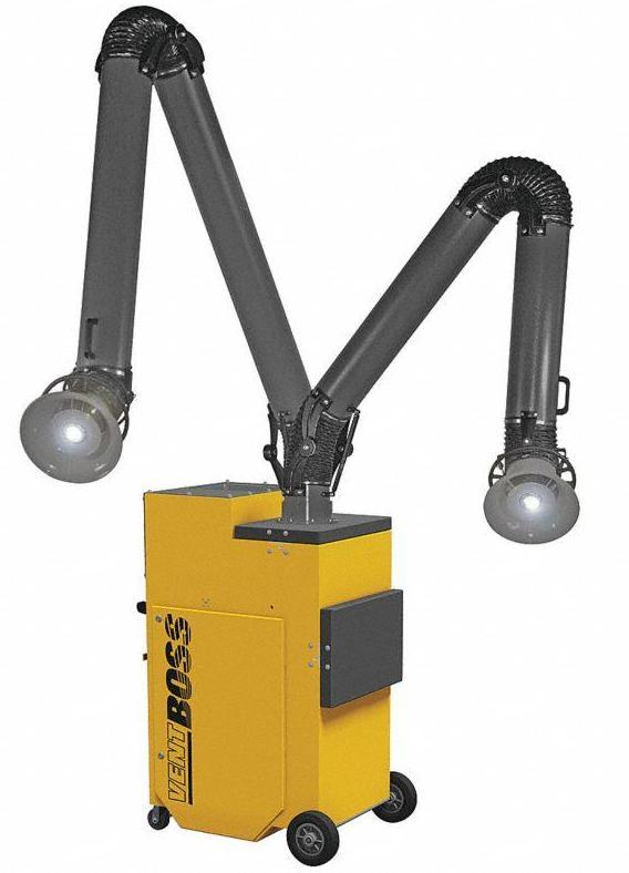 "VentBoss Portable Weld Fume Extractor w/ Two 6"" x 10' Lighted Fume Arm 1200 CFM G121"