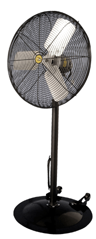 Black Industrial Duty Oscillating Pedestal Fan w/ Wheels 3 Speed 20 Inch 4600 CFM VDF201WB2