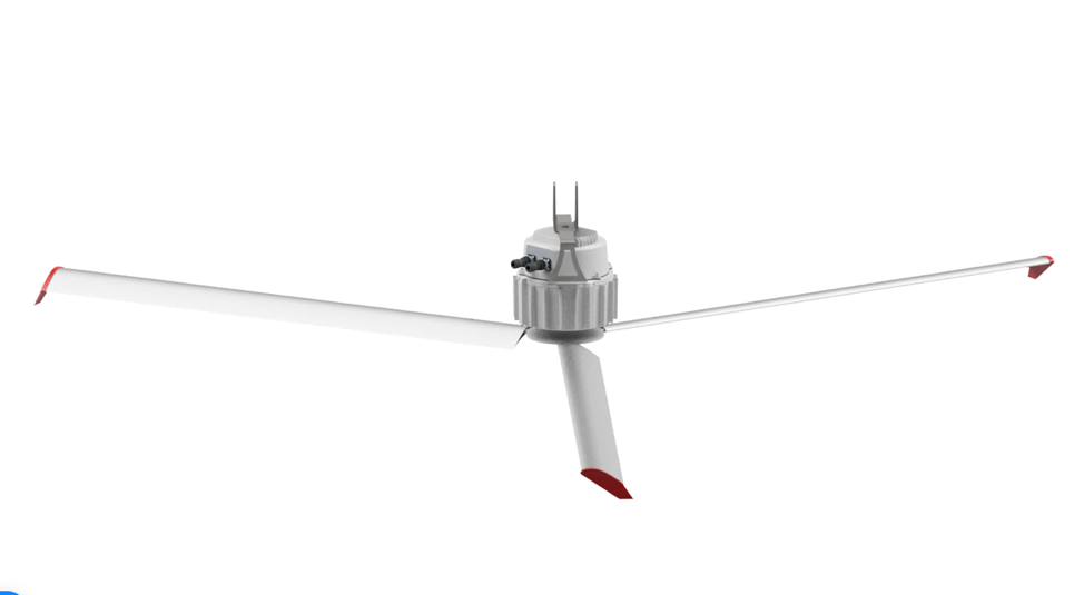 SkyBlade Mini Prop HVLS Ceiling Fan 8 foot 1 Phase 230V w/ Remote 5024 Sq Ft Coverage MP-0824-523-1