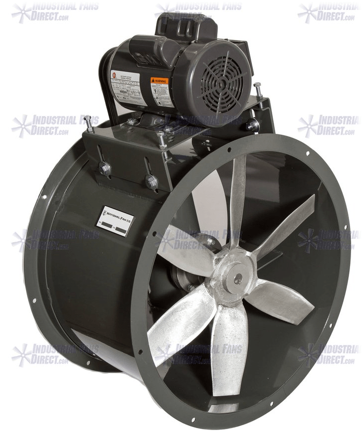 AirFlo Explosion Proof Tube Axial Wet Environment Fan 24 inch 11400 CFM 3 Phase Belt Drive NBC24-I-3-E
