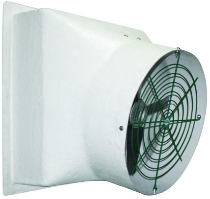 Fiberglass Exhaust Fan w/ Poly Shutters 16 inch 2470 CFM Direct Drive VFP16P, [product-type] - Industrial Fans Direct