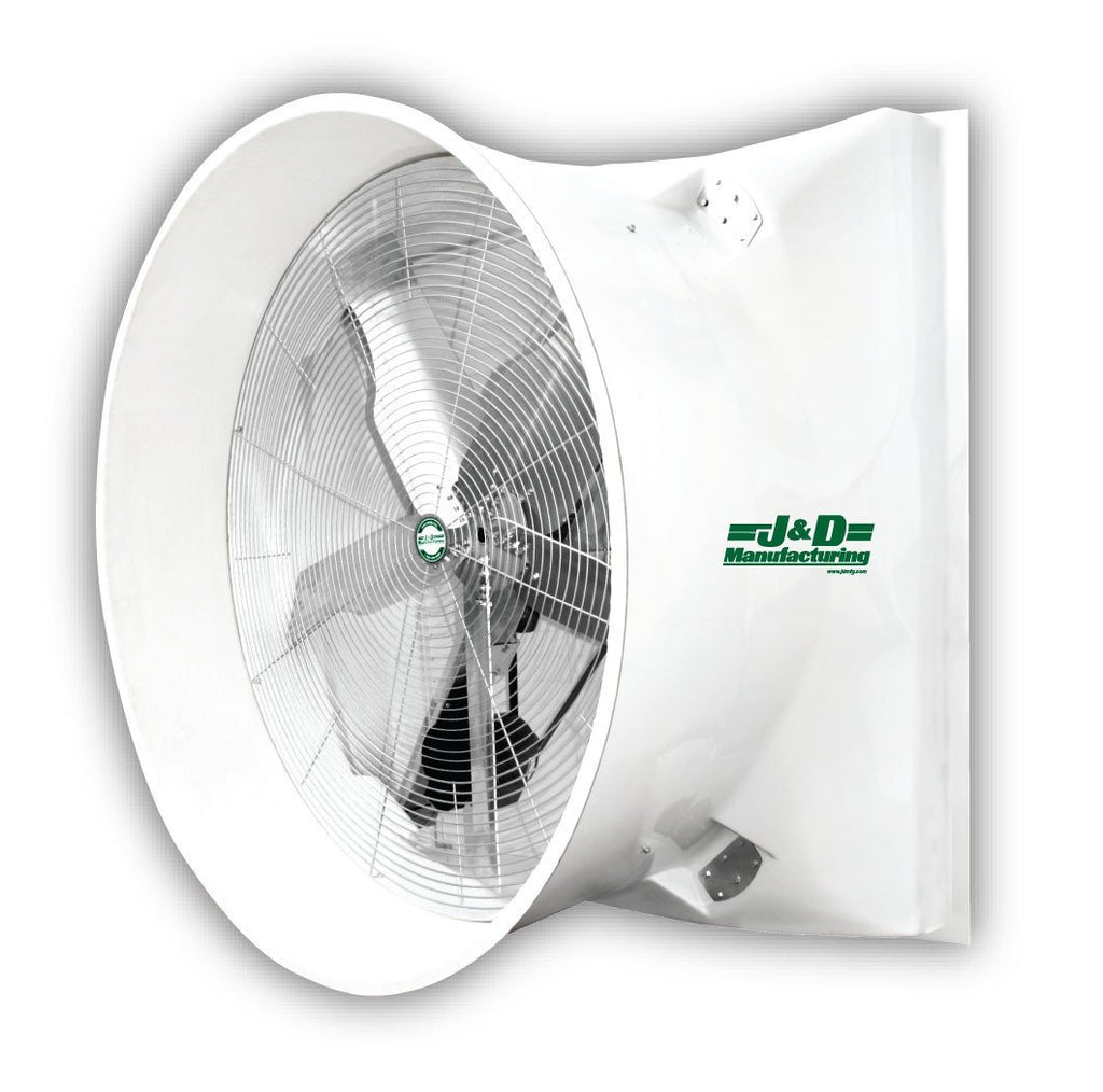 Fiberglass Exhaust Fan & Cone w/ Aluminum Shutters 72 inch 46448 CFM Belt Drive 3 Phase VMSA72A5C33, [product-type] - Industrial Fans Direct