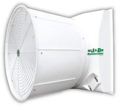 Fiberglass Exhaust Fan & Cone w/ Aluminum Shutters 55 inch 33400 CFM Belt Drive 3 Phase VSA55G3C23, [product-type] - Industrial Fans Direct