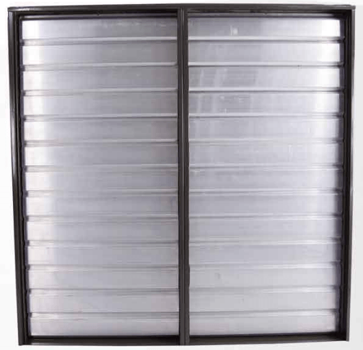 Triangle Intake Shutter for Opposite Wall Motorized Double Panel 67 inch w/ 2 Electric Operators RIWSD60