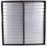 Triangle Wall Mounted Intake Motorized Damper Double Panel Shutter 46 Inch I.D. w/ 2 Electric Operators RIWSD42
