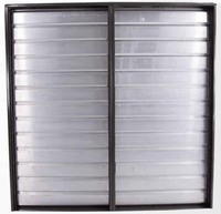 Triangle Wall Mounted Intake Motorized Damper Double Panel Shutter 61 Inch I.D. w/ 2 Electric Operators RIWSD54