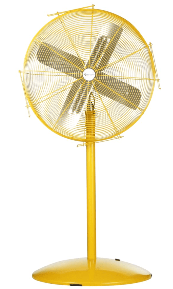 Heavy Duty Safety Yellow Pedestal Fan 24 inch 5280 CFM 2 Speed w/ Pull Chain 10501K