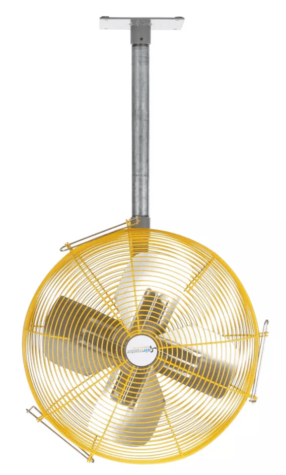 Heavy Duty Safety Yellow Vertical Mounted Fan 24 inch 5280 CFM 2 Speed w/ Pull Chain 10301K