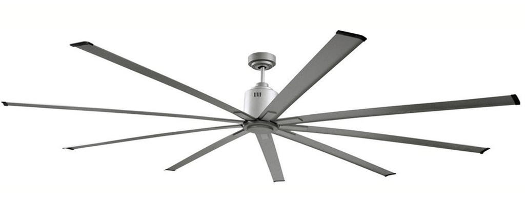 Big Air Silver 96 inch Industrial Ceiling Fan w/ 6 Speed Remote 1733 Sq. Ft. Coverage ICF96UPS