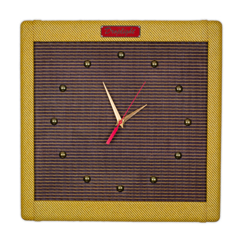 "15"" Handcrafted Vintage Tweed Guitar Amp Wall Clock by DropLight Ind."