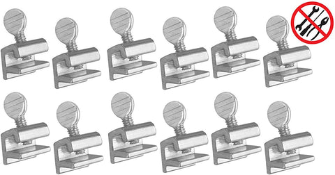 ALAZCO 12pc Premium Home Security Sliding Window Lock - Tamper Resistant Extruded Aluminum - Thumbscrew No Tool Needed