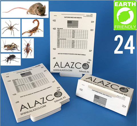 24 ALAZCO  Glue Traps - Excellent Quality Glue Boards Mouse Trap Bugs Insects Spiders Cockroaches Trapper & Monitor NON-TOXIC