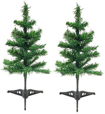 ALAZCO 2 Artificial Holiday Christmas Tree Holiday Tabletop Desk Countertop Home Office Reception Desk School Shop Store Kids Room, Dorm - with Detachable Base Total Length 18''