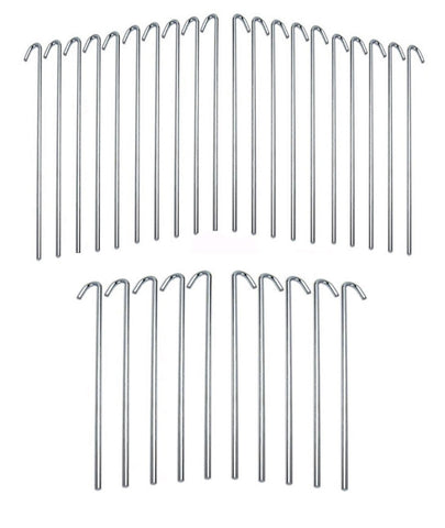 ALAZCO Galvanized Steel Tent Pegs - Garden Stakes -Heavy Duty - Rust Free (30 pc)