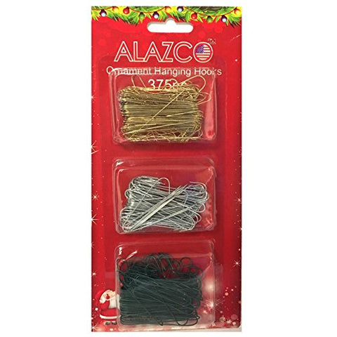 Set of 375pc Ornament Hanging Hooks in GOLD, SILVER & GREEN (125pc each) - Mix & Match Holiday Ornaments Decorations Tree, Garlands & Wreaths - By ALAZCO