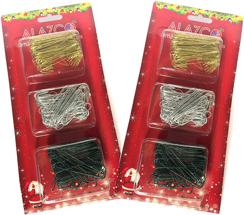 ALAZCO Value Set of 750pc Ornament Hanging Hooks in Gold, Silver & Green (250pc Each) - Mix & Match Holiday Ornaments Decorations Tree, Garlands & Wreaths