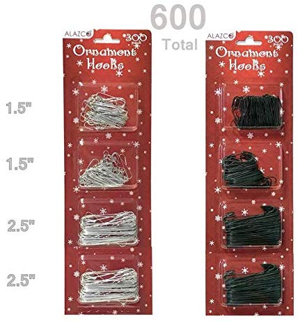 ALAZCO 600pc Christmas Holiday Ornament Hanger Hooks (300 Green & 300 Silver)
