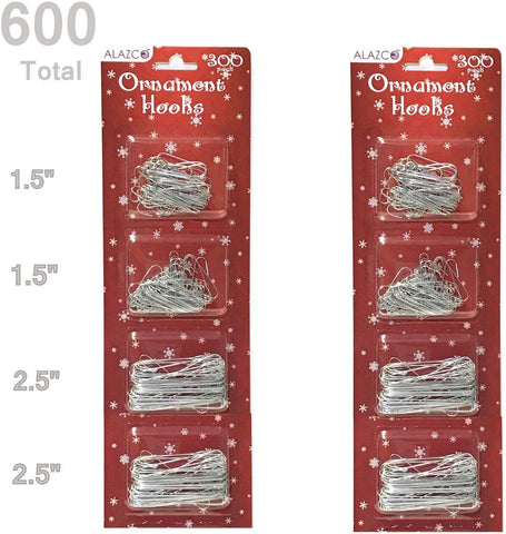 "ALAZCO Value Set 600pc Silver Ornament Hanging Hooks Holiday Decor - Includes 300 Large (2.5"") & 300 Small (1.25"") Hooks"