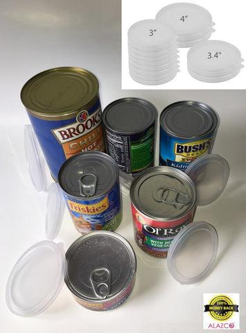 12pc BPA-Free ALAZCO Can Covers - Large Medium & Small Plastic Tight Seal Lids For Canned Goods or Pet Dog Cat Food Food Saver Reusable