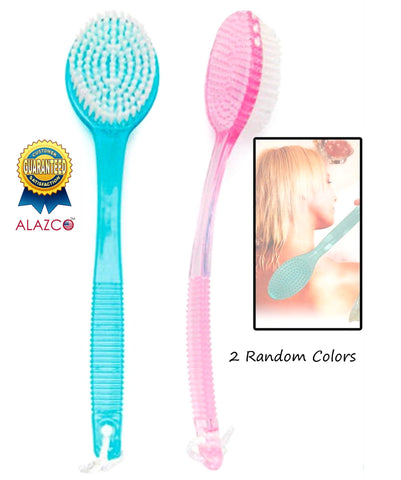 "2 Random Colors ALAZCO Bath Brush Back Scrub Scrubber Shower Body Skin Exfoliating 13.5"" Long Handle"