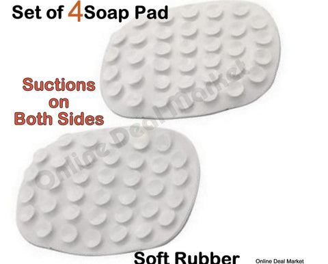 4 ALAZCO Soap Saver Holder Suction Pads Soap White Rubber Dish Bathtub Laundry Kitchen Sink