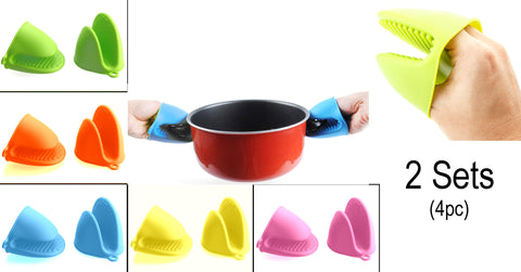 Alazco Silicone Pot Holder Oven Mini Mitt 4pc (2 Pairs), Cooking Pinch Grips - Heat Resistant