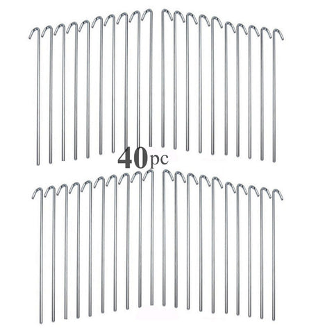 ALAZCO Galvanized Steel Tent Pegs - Garden Stakes -Heavy Duty - Rust Free (40 pc)