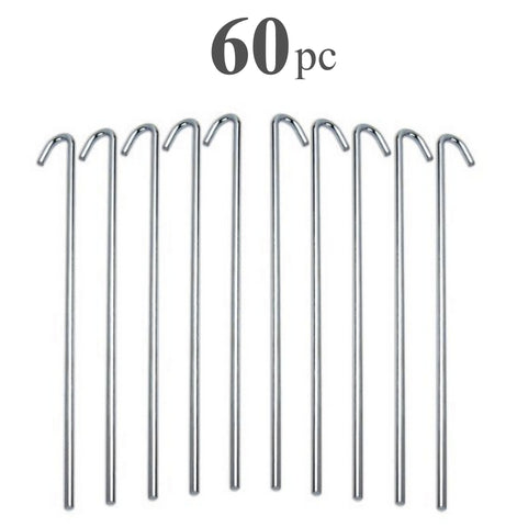 ALAZCO Galvanized Steel Tent Pegs - Garden Stakes -Heavy Duty - Rust Free (60 pc)