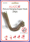24pc Set ALAZCO Super Hooks - Hang Pictures without ANY TOOL, Hammer, Nails or Drilling! Excellent Quality