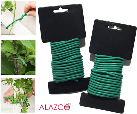 ALAZCO 2 pk (12 Ft Each) Rubber Coated Flex Plant Wire Support Plant Vines Stems Stalks - Easy Cut Twist Tie for Plants Guide Climbing Plants Tomato Cucumbers Squash Sunflower & More