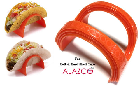 8pc ALAZCO Taco Holder Stand Server - For Soft & Hard Shell Taco - Backyard Party Picnic Fiesta