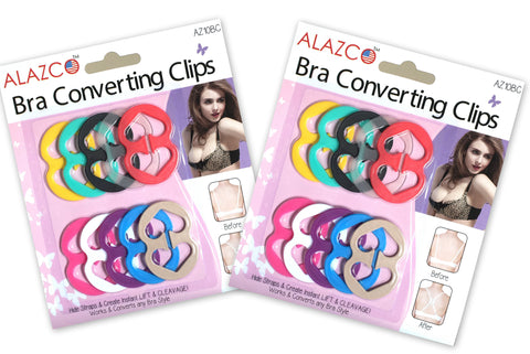 ALAZCO Excellent Quality 20pc Bra Strap Clips Conceal Straps - Create Cleavage and Add Full Cup Size