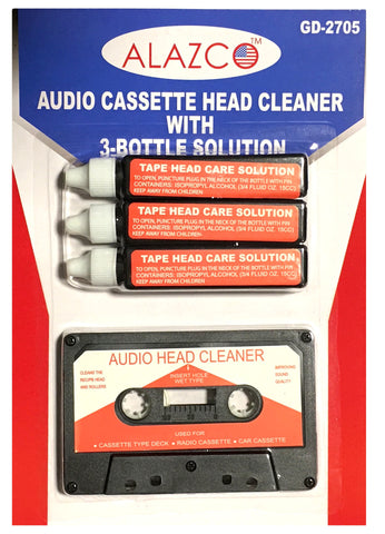 Audio Tape Cassette Head Cleaner w/ 3 Cleaning Fluids Maintenance Kit