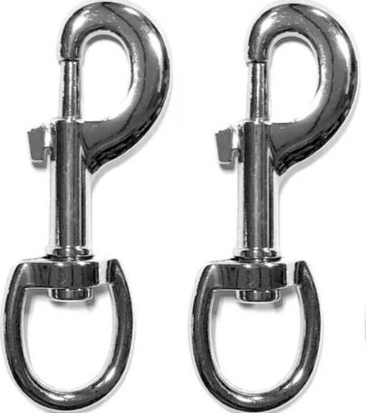 2pc ALAZCO Superior Quality 3.5'' Inch by 1/2-Inch 70 Lbs Round Steel Swivel Eye Bolt Snap Hook Multipurpose Pet Leash Flag Pole Key Chain Clothlines Tarp Cover - Nickel Plated