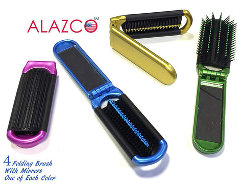 4 ALAZCO Folding Hair Brush With Mirror Compact Pocket Size Travel Car Gym Bag Purse Locker
