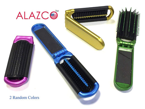 2 ALAZCO Folding Hair Brush With Mirror Compact Pocket Size Travel Car Gym Bag Purse Locker