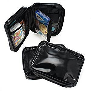 3 ALAZCO Makeup Bag Set Purse Insert Travel Organizer Clutch Black Faux Patent Leather
