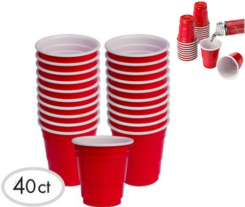 40pc Red Cup Mini Party Shot Glasses Set, 2-Ounce