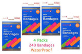 "240pc ALAZCO Neon Adhesive Waterproof Bandages Strip (2-3/4"" x 3/4"") Kids Children First Aid Latex-Free"