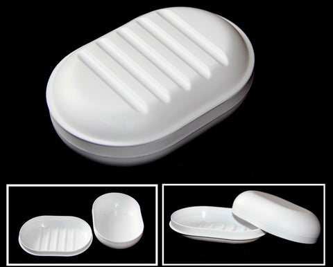 ALAZCO Travel Soap Dish Large Oval Container Box Case White Great For Home School Gym